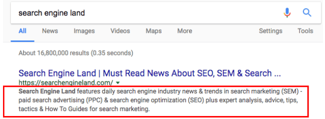 google snippet long